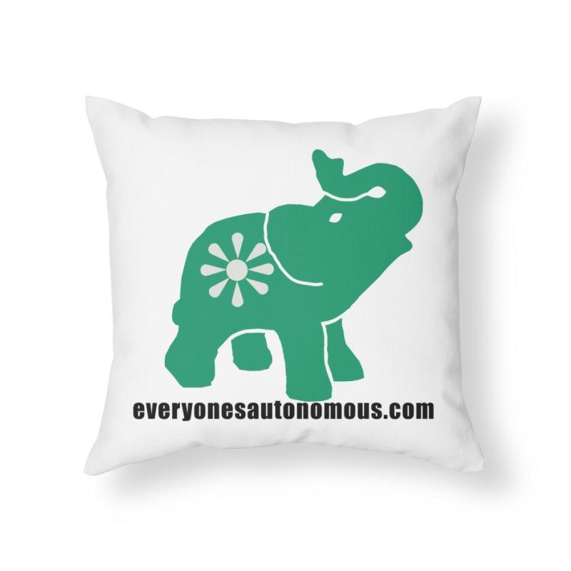 Green Elephant w/Website Home Throw Pillow by Everyone's Autonomous' Artist Shop