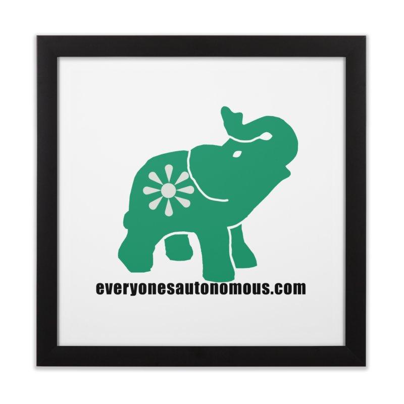 Green Elephant w/Website Home Framed Fine Art Print by Everyone's Autonomous' Artist Shop