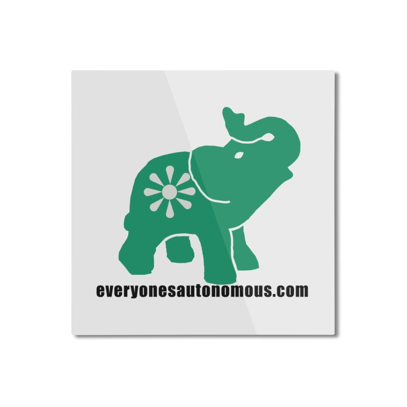 Green Elephant w/Website Home Mounted Aluminum Print by Everyone's Autonomous' Artist Shop