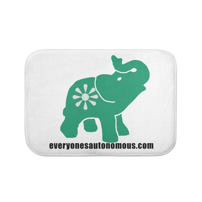 Green Elephant w/Website Home Bath Mat by everyonesautonomous's Artist Shop