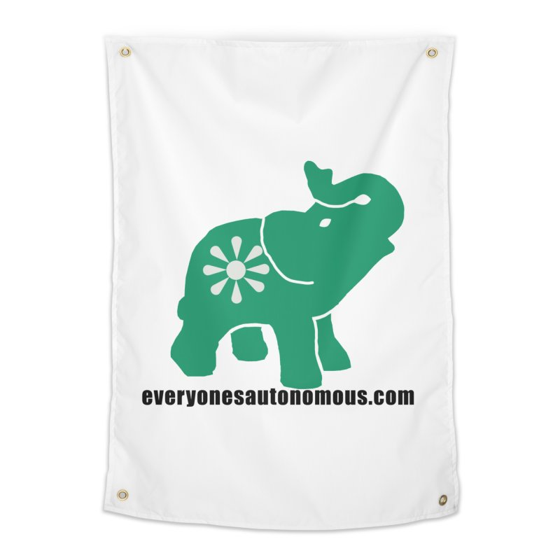 Green Elephant w/Website Home Tapestry by Everyone's Autonomous' Artist Shop