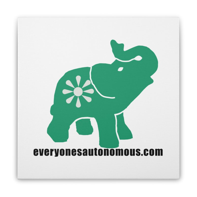 Green Elephant w/Website Home Stretched Canvas by everyonesautonomous's Artist Shop