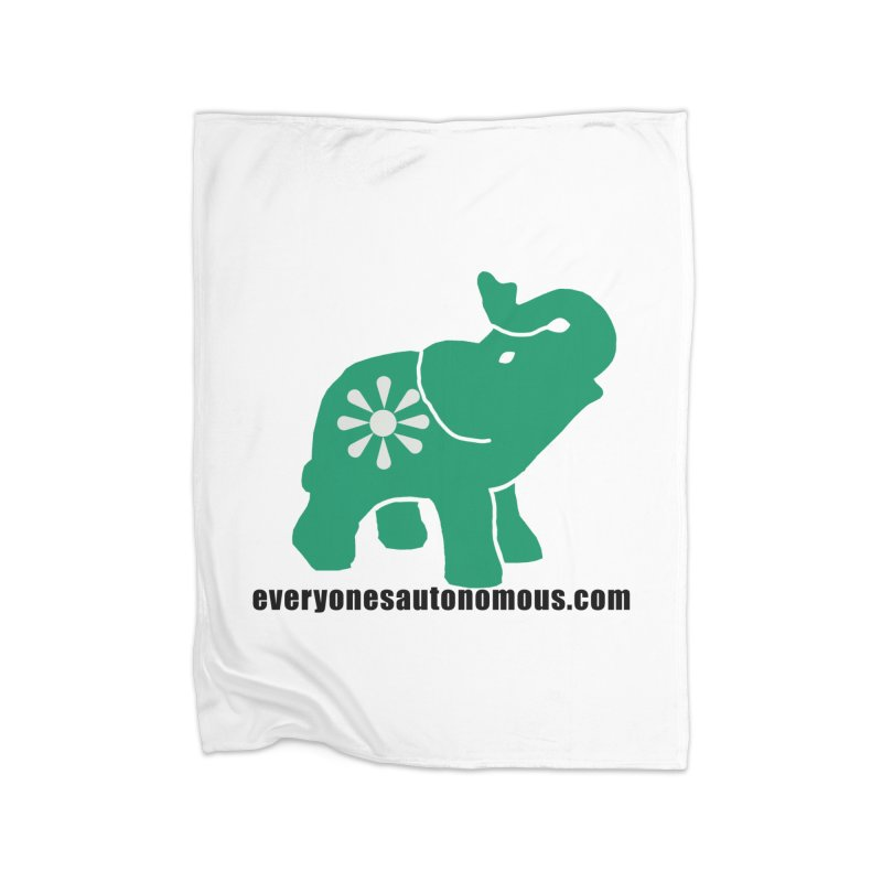Green Elephant w/Website Home Fleece Blanket Blanket by everyonesautonomous's Artist Shop