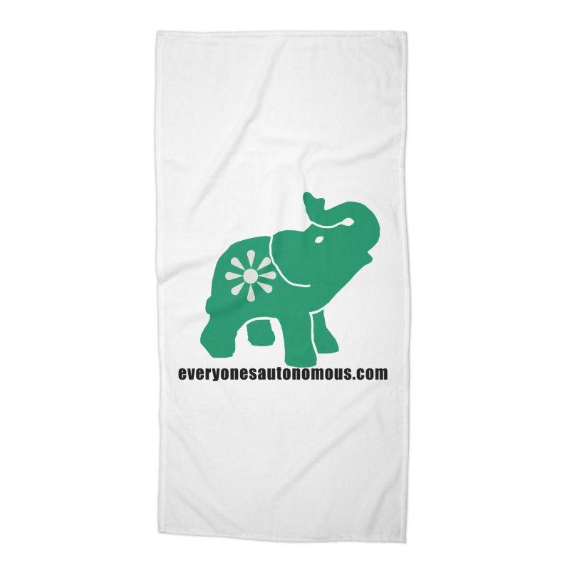 Green Elephant w/Website Accessories Beach Towel by everyonesautonomous's Artist Shop