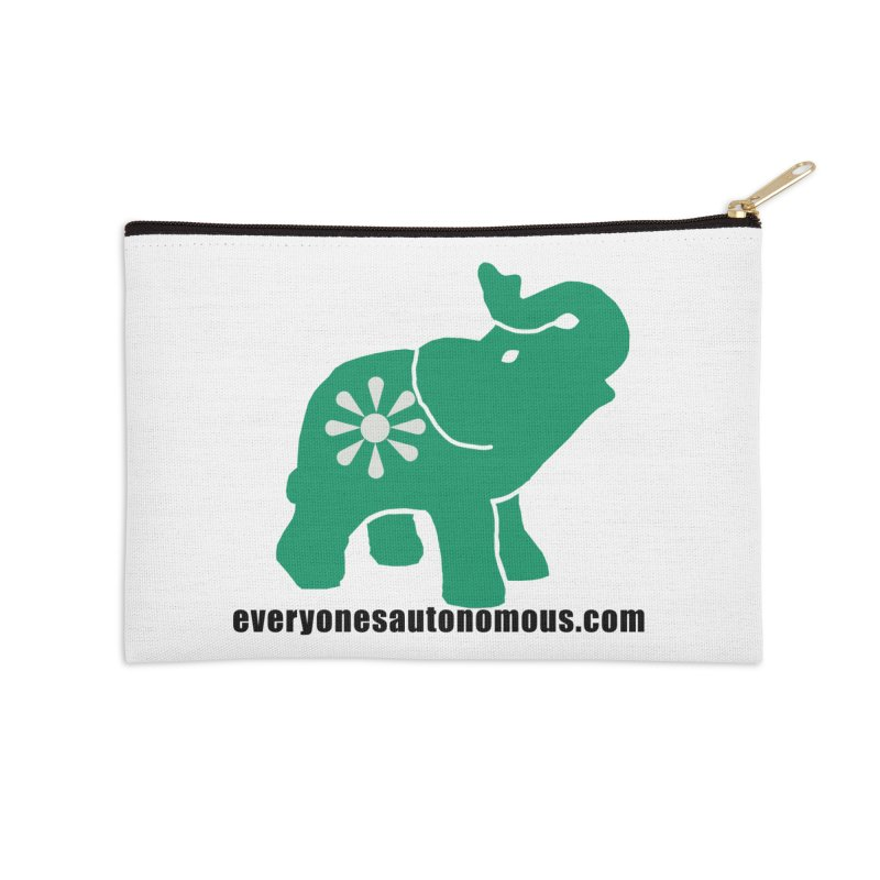 Green Elephant w/Website Accessories Zip Pouch by everyonesautonomous's Artist Shop
