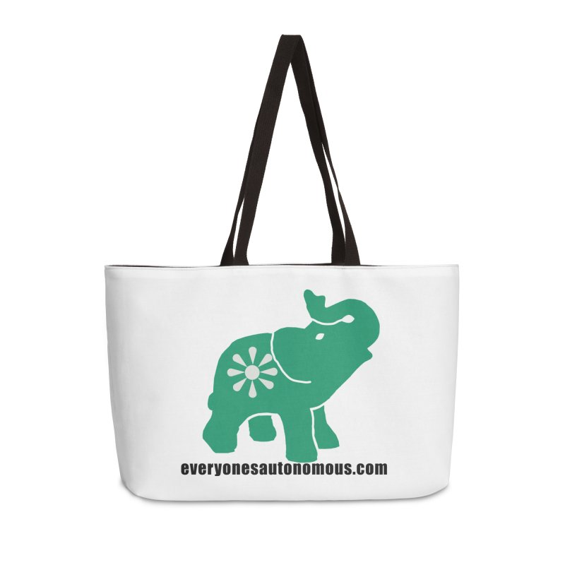 Green Elephant w/Website Accessories Weekender Bag Bag by everyonesautonomous's Artist Shop