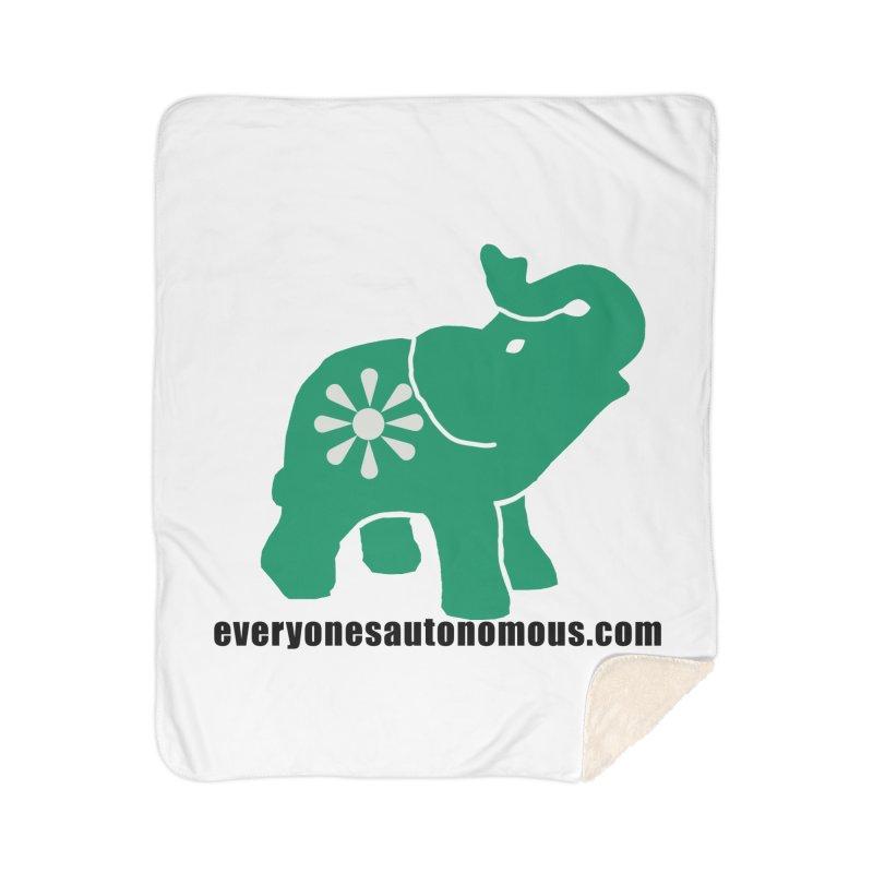 Green Elephant w/Website Home Sherpa Blanket Blanket by everyonesautonomous's Artist Shop