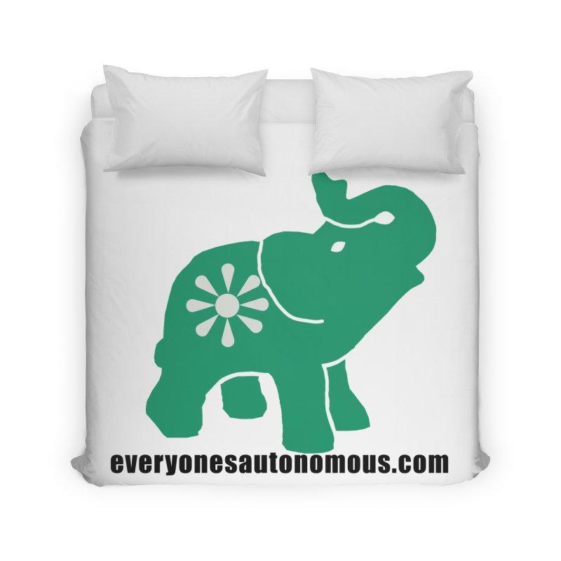 Green Elephant w/Website Home Duvet by everyonesautonomous's Artist Shop