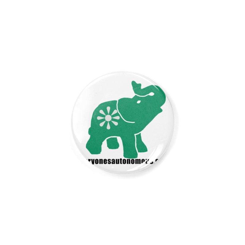 Green Elephant w/Website Accessories Button by Everyone's Autonomous' Artist Shop