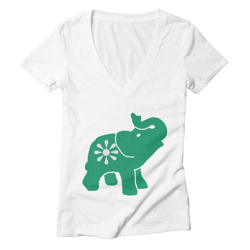 Green Elephant Women's Deep V-Neck V-Neck by everyonesautonomous's Artist Shop