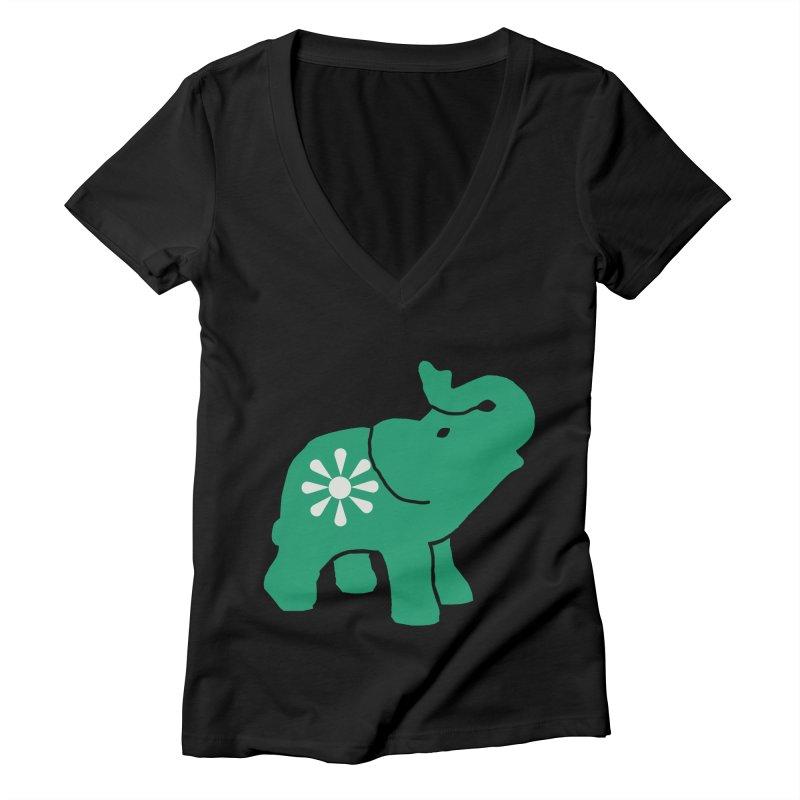 Green Elephant Women's V-Neck by Everyone's Autonomous' Artist Shop