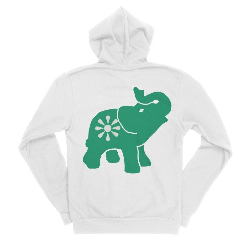 Green Elephant Men's Zip-Up Hoody by Everyone's Autonomous' Artist Shop