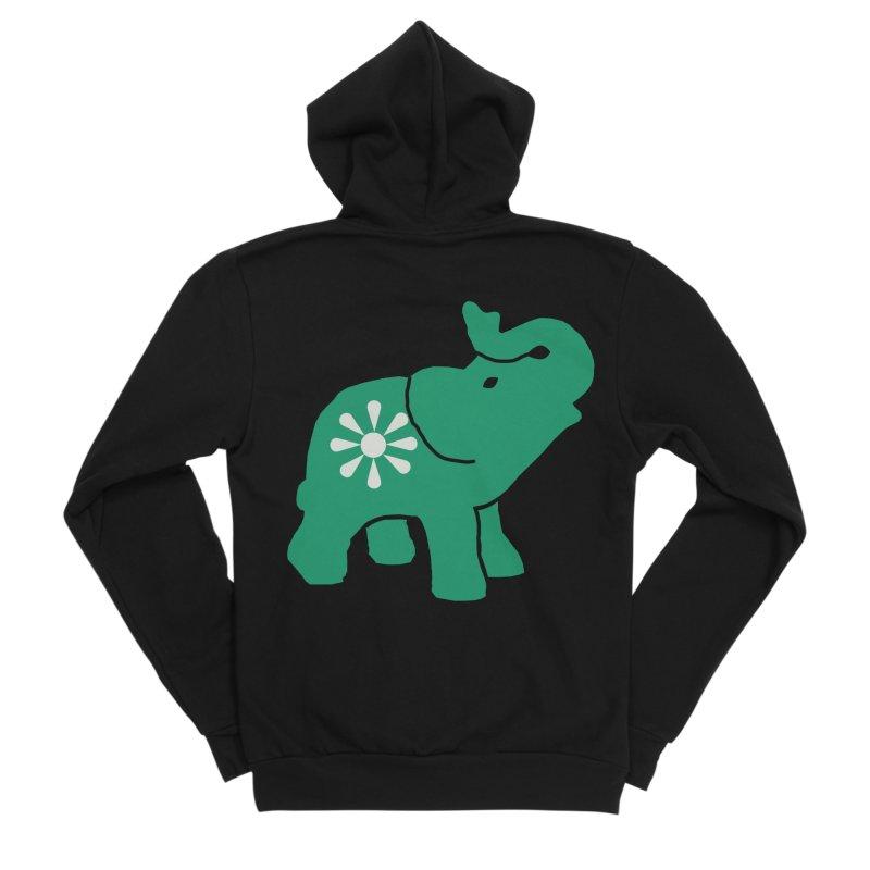 Green Elephant Men's Sponge Fleece Zip-Up Hoody by everyonesautonomous's Artist Shop