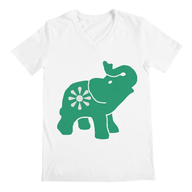 Green Elephant Men's V-Neck by Everyone's Autonomous' Artist Shop