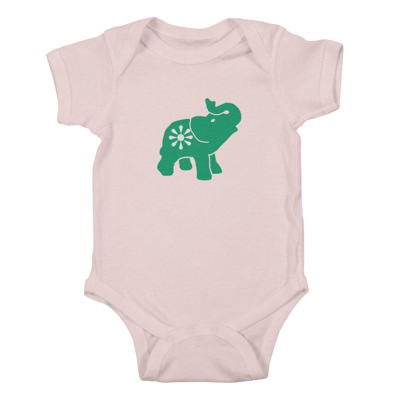 Green Elephant Kids Baby Bodysuit by Everyone's Autonomous' Artist Shop