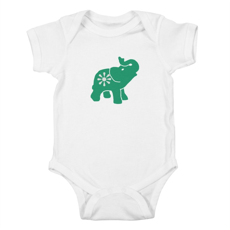 Green Elephant Kids Baby Bodysuit by everyonesautonomous's Artist Shop