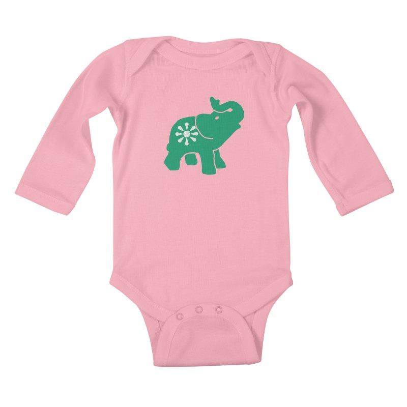 Green Elephant Kids Baby Longsleeve Bodysuit by Everyone's Autonomous' Artist Shop