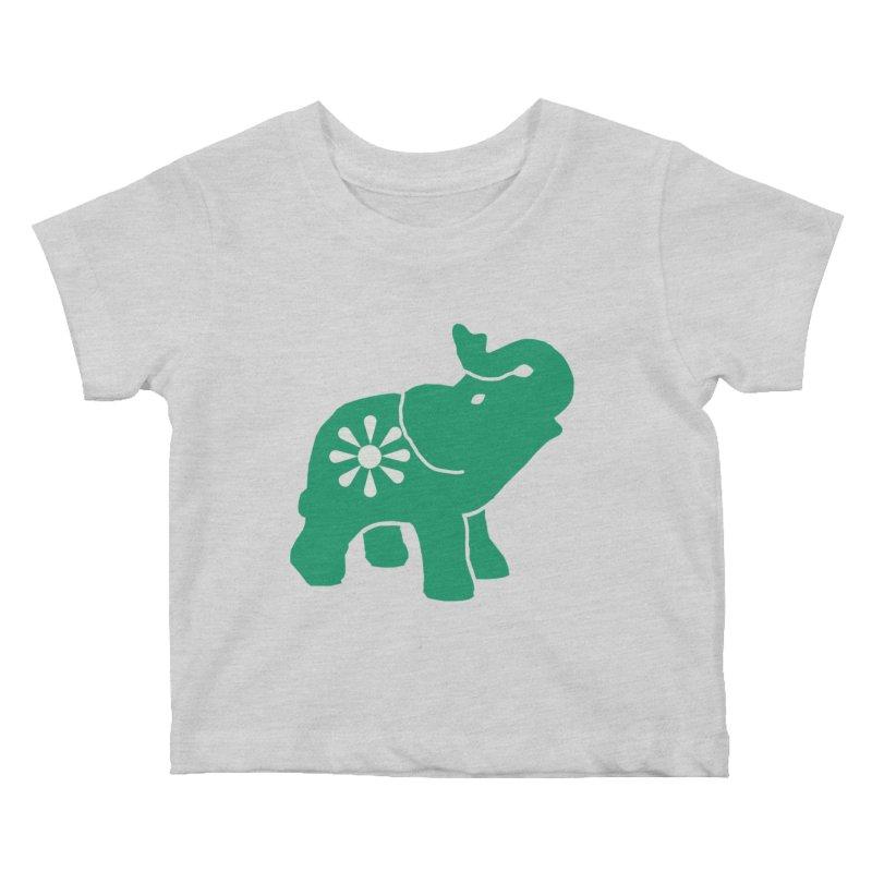 Green Elephant Kids Baby T-Shirt by everyonesautonomous's Artist Shop
