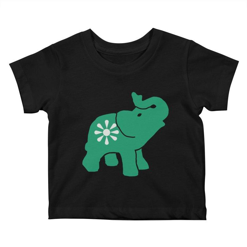 Green Elephant Kids Baby T-Shirt by Everyone's Autonomous' Artist Shop