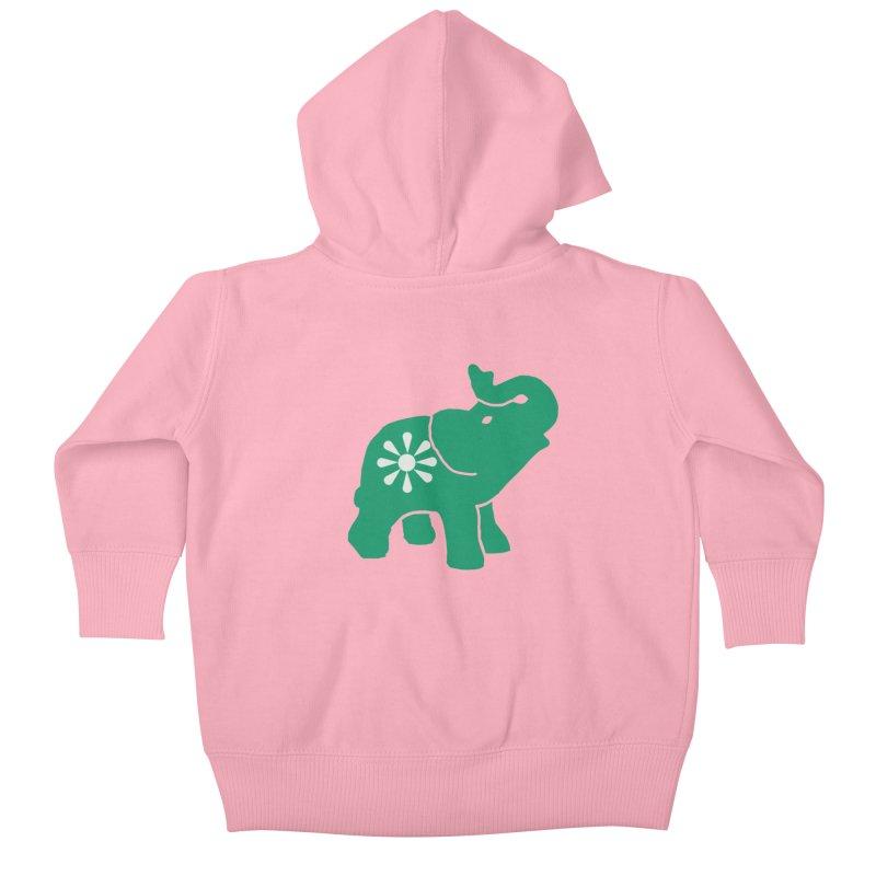 Green Elephant Kids Baby Zip-Up Hoody by Everyone's Autonomous' Artist Shop