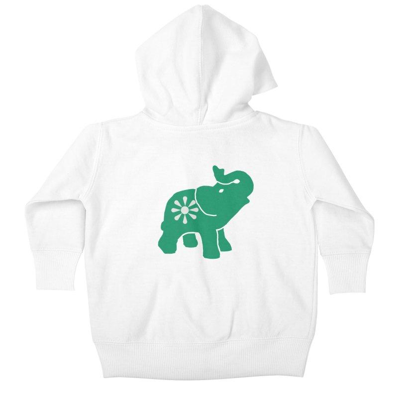 Green Elephant Kids Baby Zip-Up Hoody by everyonesautonomous's Artist Shop
