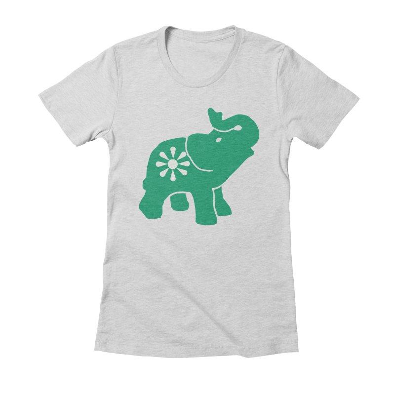 Green Elephant Women's Fitted T-Shirt by everyonesautonomous's Artist Shop