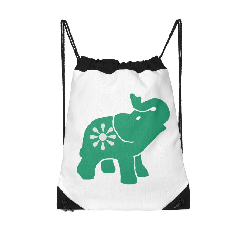 Green Elephant Accessories Drawstring Bag Bag by everyonesautonomous's Artist Shop