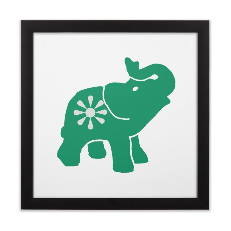Green Elephant Home Framed Fine Art Print by Everyone's Autonomous' Artist Shop