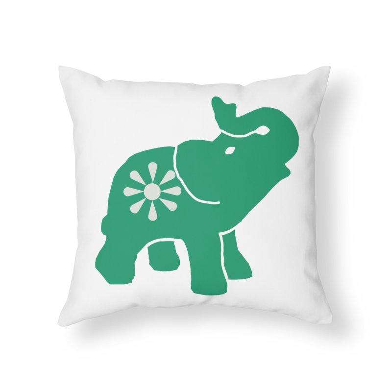 Green Elephant Home Throw Pillow by Everyone's Autonomous' Artist Shop