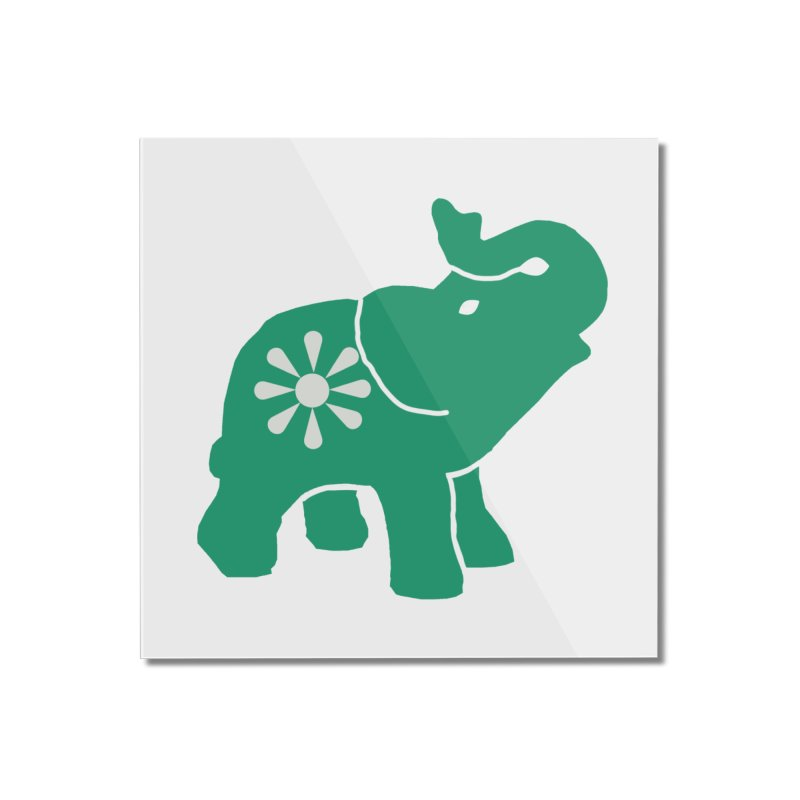 Green Elephant Home Mounted Acrylic Print by everyonesautonomous's Artist Shop