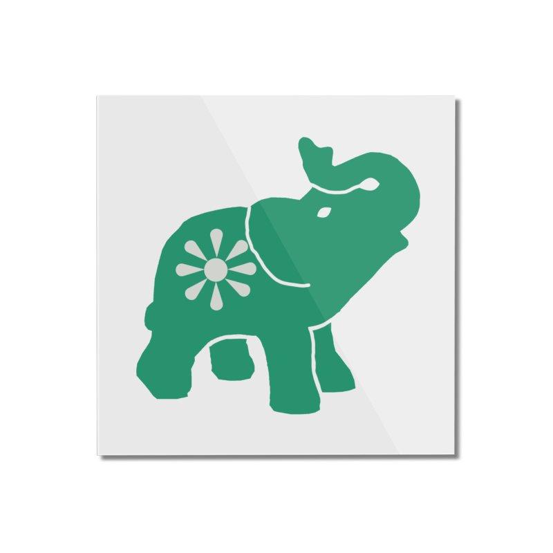 Green Elephant Home Mounted Acrylic Print by Everyone's Autonomous' Artist Shop