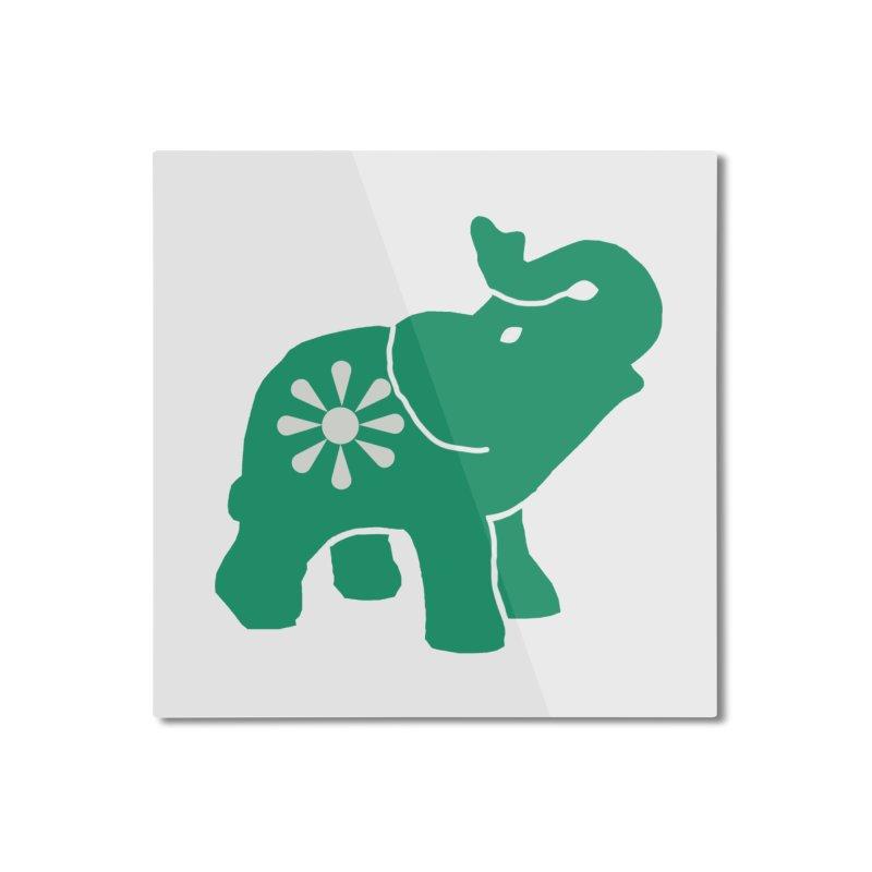 Green Elephant Home Mounted Aluminum Print by Everyone's Autonomous' Artist Shop