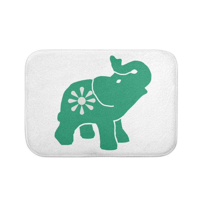 Green Elephant Home Bath Mat by everyonesautonomous's Artist Shop