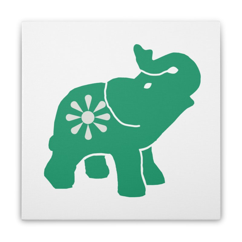 Green Elephant Home Stretched Canvas by everyonesautonomous's Artist Shop
