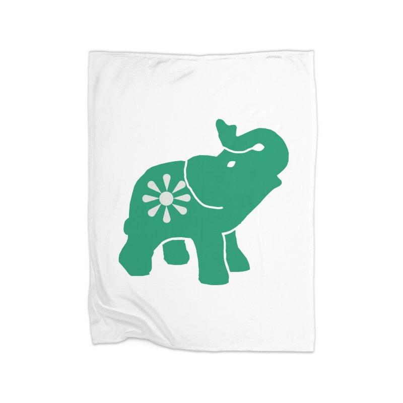 Green Elephant Home Fleece Blanket Blanket by everyonesautonomous's Artist Shop