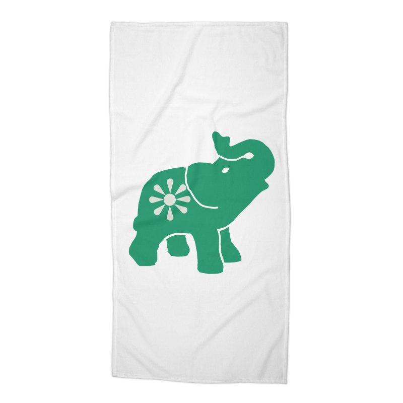 Green Elephant Accessories Beach Towel by Everyone's Autonomous' Artist Shop