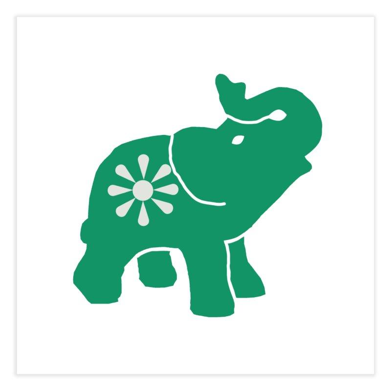 Green Elephant Home Fine Art Print by Everyone's Autonomous' Artist Shop