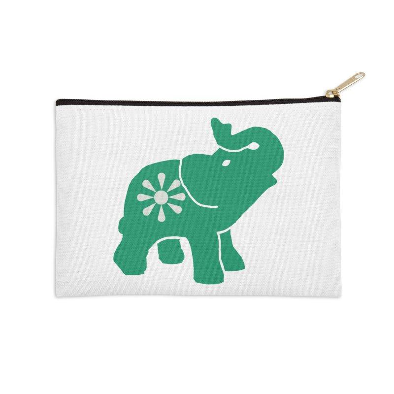 Green Elephant Accessories Zip Pouch by Everyone's Autonomous' Artist Shop