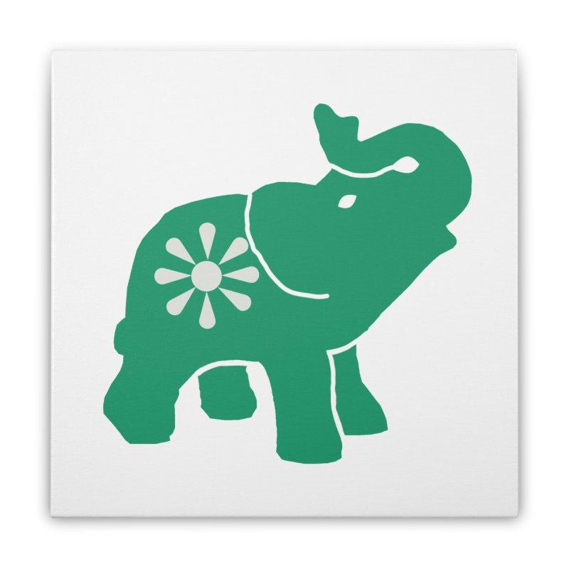 Green Elephant Home Stretched Canvas by Everyone's Autonomous' Artist Shop