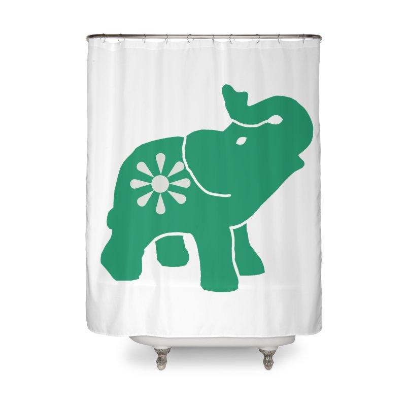 Green Elephant Home Shower Curtain by everyonesautonomous's Artist Shop