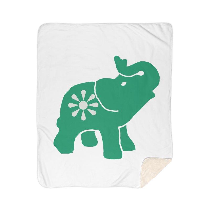 Green Elephant Home Sherpa Blanket Blanket by everyonesautonomous's Artist Shop