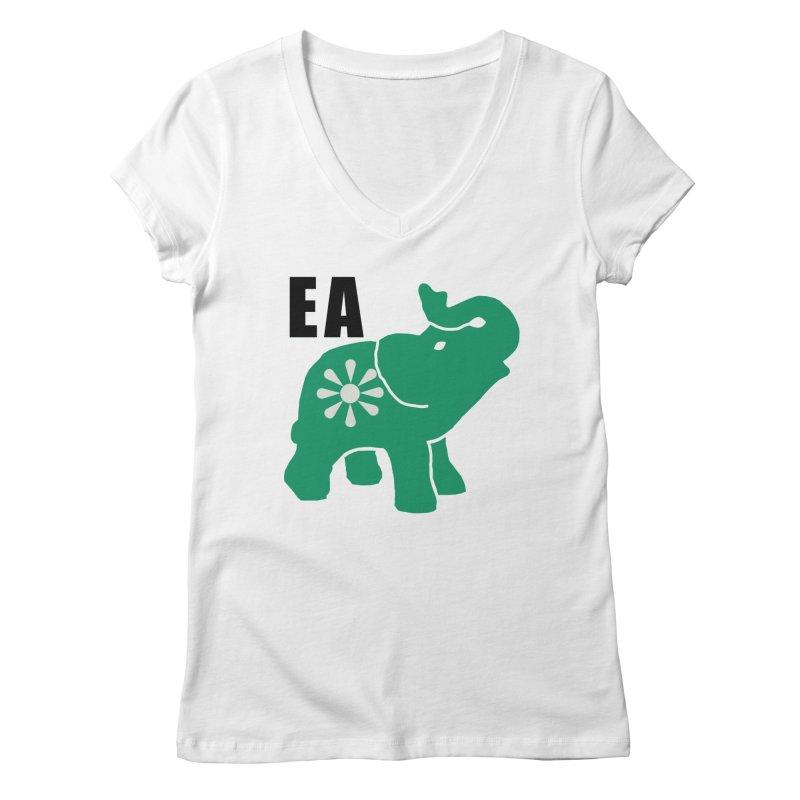 Elephant w EA Women's Regular V-Neck by everyonesautonomous's Artist Shop