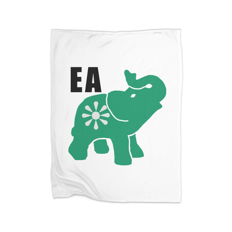 Elephant w EA Home Fleece Blanket Blanket by everyonesautonomous's Artist Shop