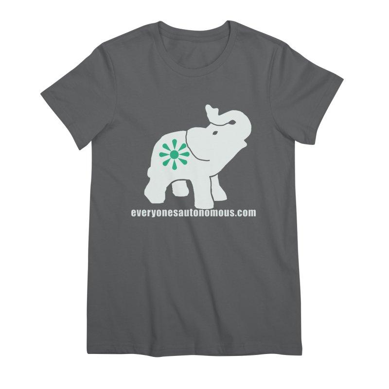 White Elephant with website Women's Premium T-Shirt by everyonesautonomous's Artist Shop