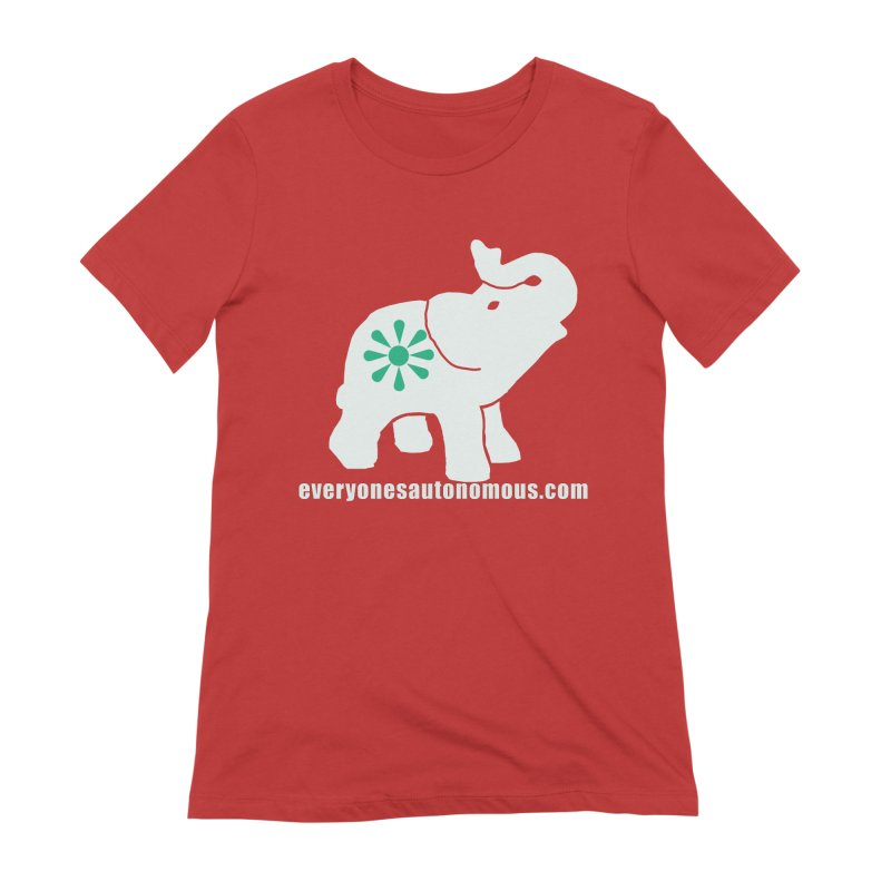 White Elephant with website Women's Extra Soft T-Shirt by everyonesautonomous's Artist Shop