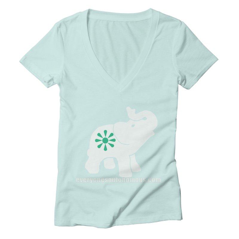 White Elephant with website Women's Deep V-Neck V-Neck by everyonesautonomous's Artist Shop