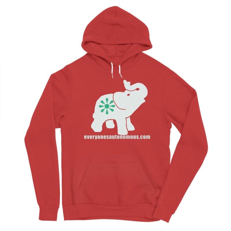 White Elephant with website Women's Sponge Fleece Pullover Hoody by everyonesautonomous's Artist Shop