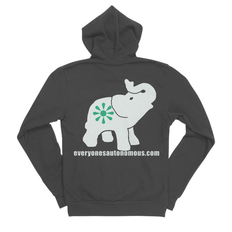 White Elephant with website Women's Sponge Fleece Zip-Up Hoody by everyonesautonomous's Artist Shop