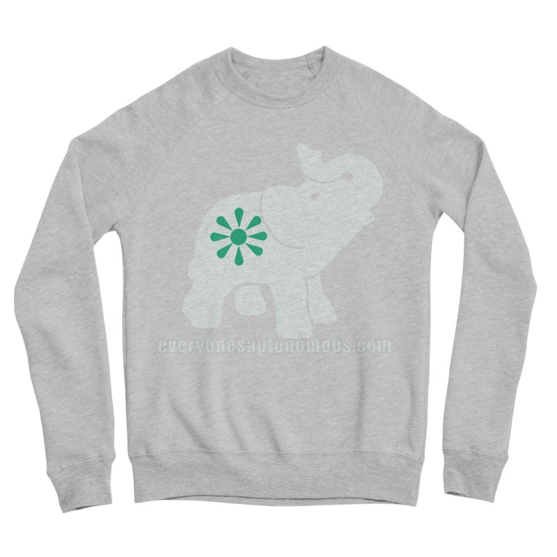 White Elephant with website Women's Sponge Fleece Sweatshirt by everyonesautonomous's Artist Shop