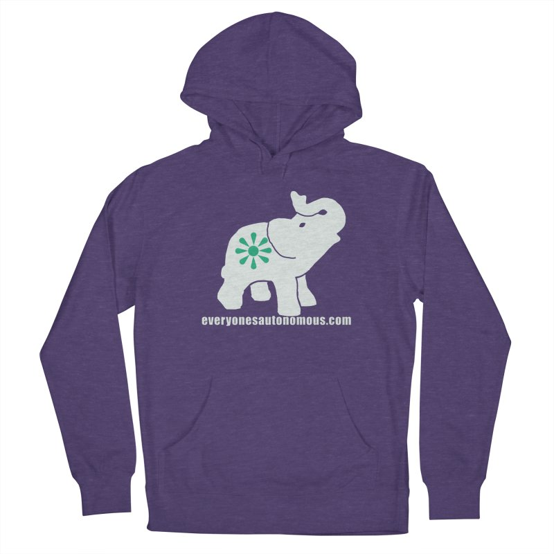 White Elephant with website Men's French Terry Pullover Hoody by everyonesautonomous's Artist Shop